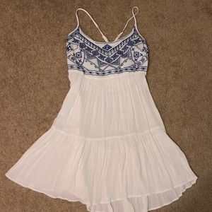 White and Blue patterned Flowy dress